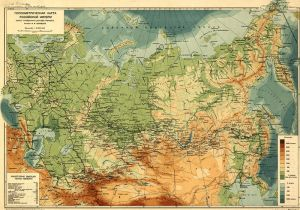 Hypsometric map of Russian Empire. 1912