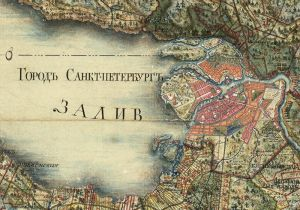 Fragment of the map of Saint Petersburg Province. Russia
