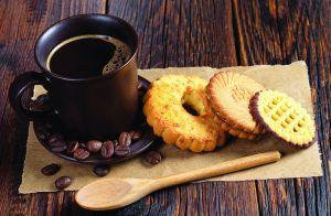 Coffee and various cookies